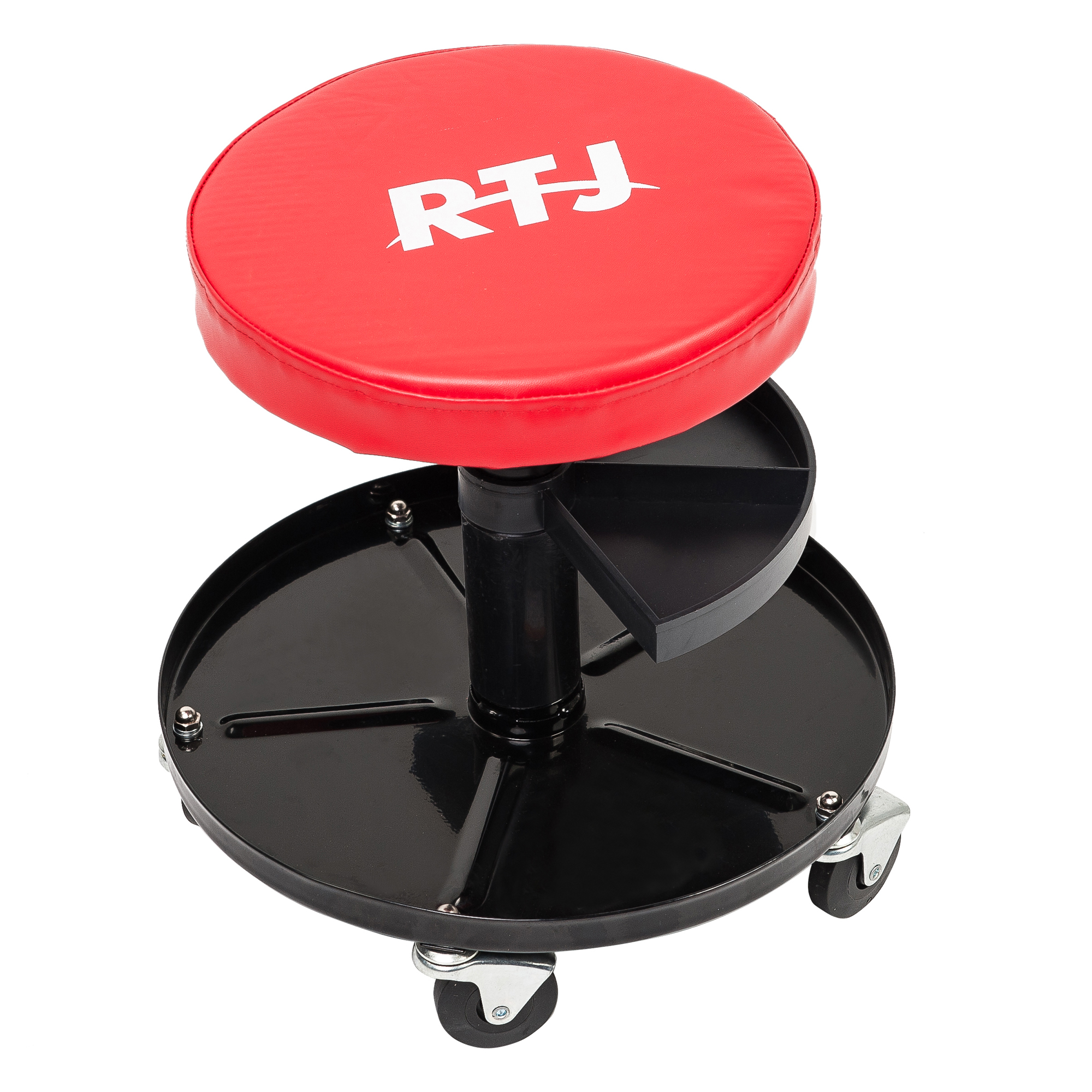 RTJ 300 lbs Capacity Pneumatic Mechanic Roller Seat Adjustable Rolling Stool, Red and Black