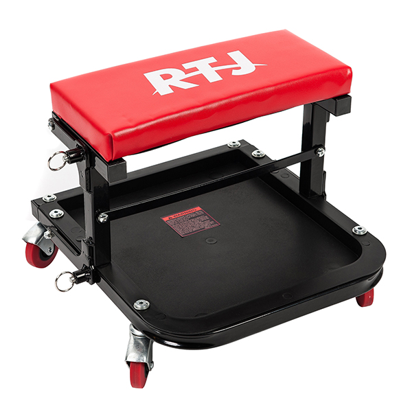 RTJ 300 lbs Capacity Foldable Mechanic Roller Seat C-Frame Rolling Stool, Red and Black