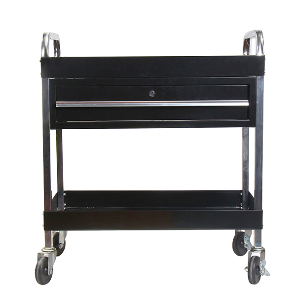 RTJ Service Cart Tool Cart with Locking Drawer 350 lbs Capacity, Jet Black