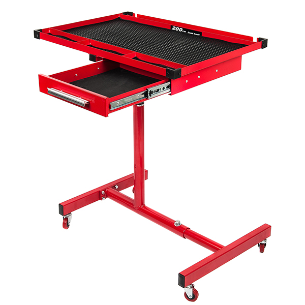 RTJ Roller Table Adjustable Rolling Work Table with Drawer, Red